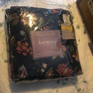 100% Cotton Floral/Plaid Fall Colours Double/Full Duvet Set